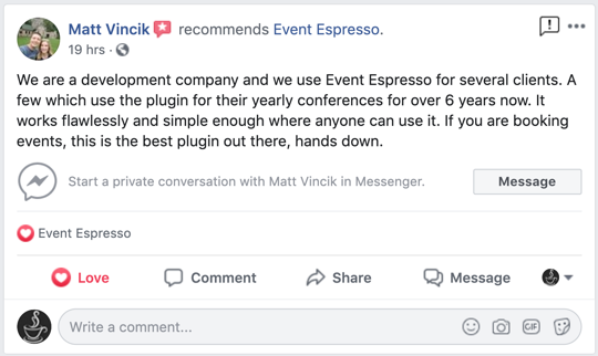 matt vincick's review of Event Espresso for developers and agencies