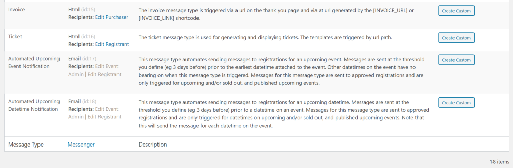 automated notification templates in Event Espresso