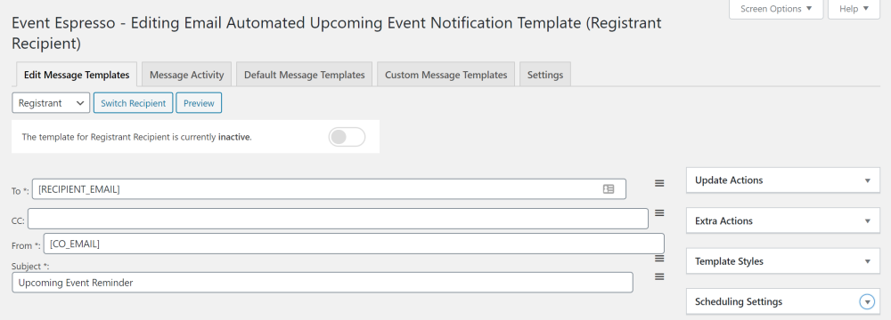 Event Espresso Automated Notifications Email Template