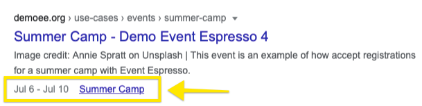 Example of structured data for events in search engine results