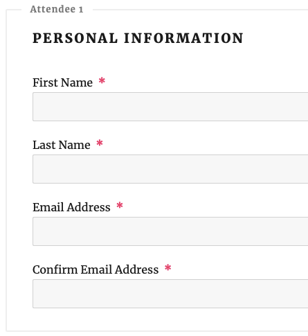 Example of registration form with confirm email address field