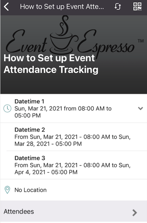 Event Espresso Mobile Attendance Tracking App