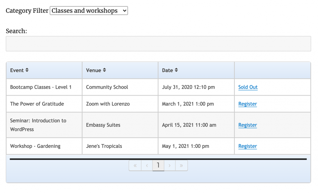 events displayed in a table layout